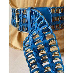 Wide Blue Braided Belt Sz XL